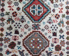 TAPIS artisanal persan Shiraz motifs géométriques bleu beige