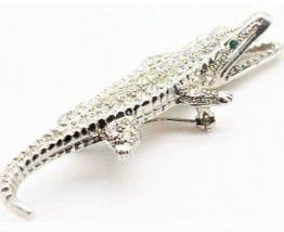 broche crocodile vintage strass