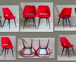 Paire chaises peluche BAUMANN années 60