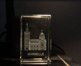 Bloc de verre avec image 3D