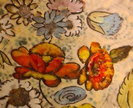 Plat Vallauris décor Floral fait main, pièce unique