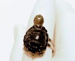 Bague réglable petite tortue de jardin, pour tous