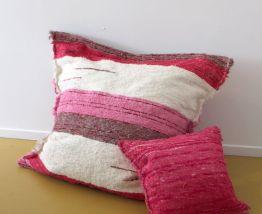 Housse de pouf + rembourrage - 120 x 120 cm - Rose et blanc