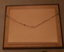 Encadrement bois baguette dorée sur toile canevas