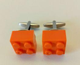 Boutons de manchette Lego®, briques oranges
