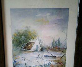 Tableau  paysage avec des bateaux
