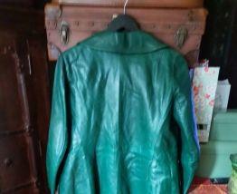 Veste 3/4 cuir vert