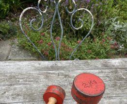 Paire d'haltères vintage 1970 2x 2 kg fonte & bois