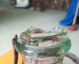 Bonbonne Vintage en verre et osier tressé,