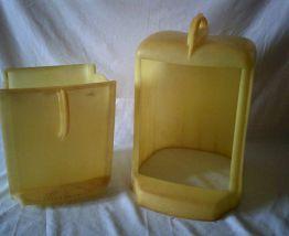 Poubelle jaune vintage