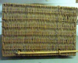 Ancien panier valise à pique-nique en osier tressé fin 19ème