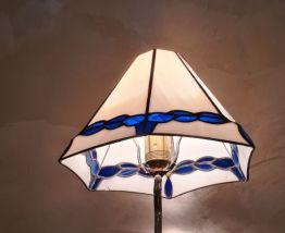 lampe en métal argenté, héron, échassier, bambou, maison Bag