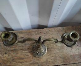Chandelier en Bronze 2 Branches Bougeoir