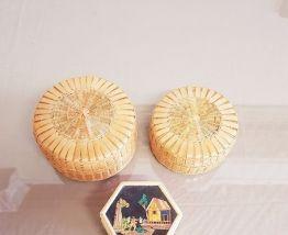 Boites à bijoux en roseau et osier lot de 3 ( refK23)