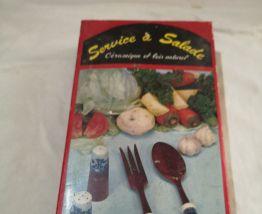 ensemble a salade en ceramique et bois années 70