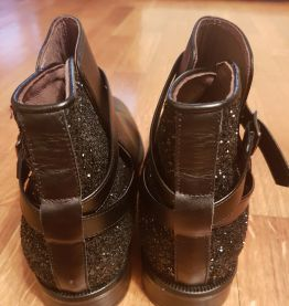 Bottines André cuir & paillettes 40