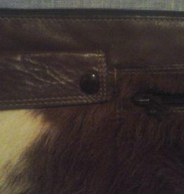 pochette en peau de chevre et cuir marron
