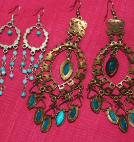 lot Boucles d'oreilles style dore argente turquoise victorien