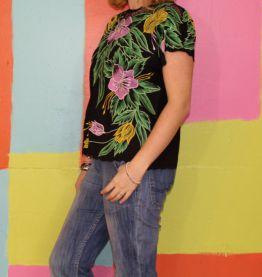 haut blouse motif fleur dentelle T40-42 romantique