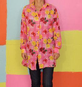 haut chemise T1/36-38 kiwi vintage rose papillon carreaux