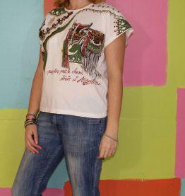 haut T-shirt motif cheval T2/38-40 fanellia
