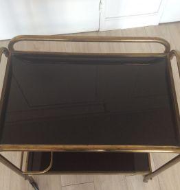 Table roulante métal et plastique vitrifiée
