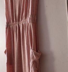 Robe d'été rayée rose poudre et blanche taille 36
