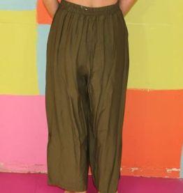 pantalon ample effet marin kaki T36-38 vintage retro