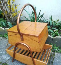 Travailleuse bois et cuivre années 50