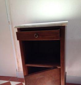 Table chevet bois/marbre