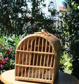 Cage de transport pour animal rotin et osier tressé