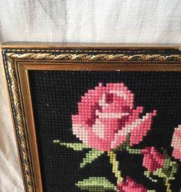 Canevas fait main,bouquet de roses.