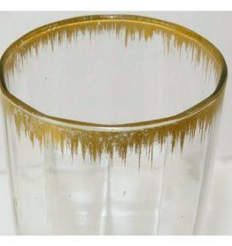 Vase verre fin doré