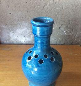 Vase en terre cuite, pique fleurs vintage bleu
