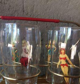 6 verres à eau décor double Pin up vintage