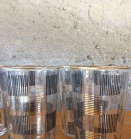 6 verres à eau décor noir et doré - vintage