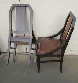 6 chaises gondoles en palissandre et cuir patiné