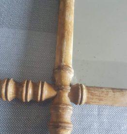Ancien Miroir En Bambou rectangulaire 46 cm x 40 cm années