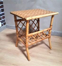 Duo de tables d'appoint vintage  bambou