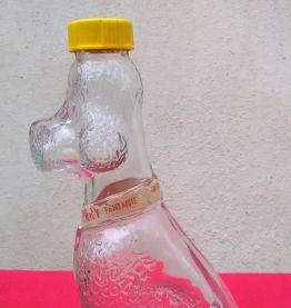 """Jolie bouteille en verre """"caniche"""""""