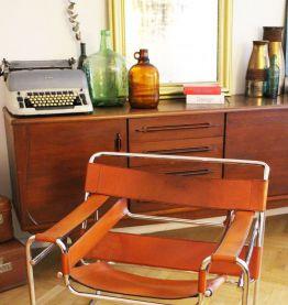 RARE - Fauteuil vintage Wassily B3 cuir marron Marcel Breuer