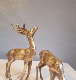 statuettes couple de biche et cerf en laiton hauteur de 19 c