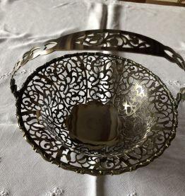 Corbeille à fruits en métal argenté ajouré