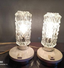 lampes de chevet vintage en verre et métal des années 70