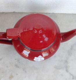 Théière Vintage en métal émaillé Rouge 70'