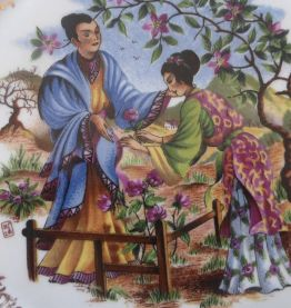 Assiette Limoges décor couple japonais