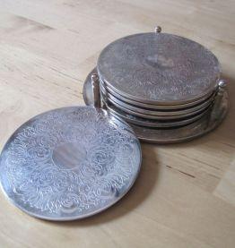 6 dessous de verre metal argentés