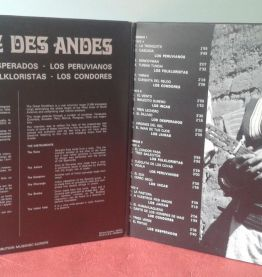 Vinyle 33T: Musique des Andes.