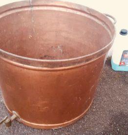 Très grande bassine cuivre vintage,lessiveuse ancienne