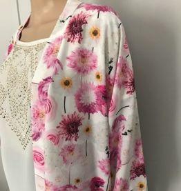 Kimono long rose fleuri